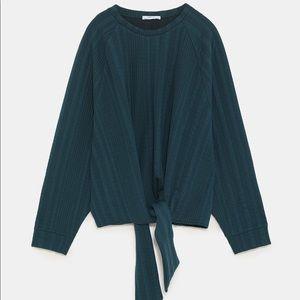 ZARA Emerald Green Jacquard Sweatshirt with Knot